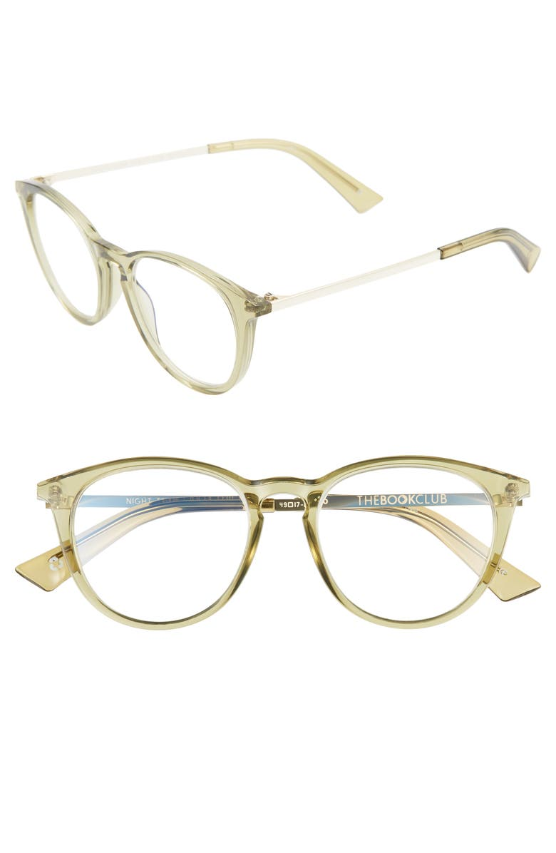 THE BOOK CLUB Night Team Crazy For 49mm Blue Light Blocking Reading Glasses, Main, color, CRYSTAL OLIVE