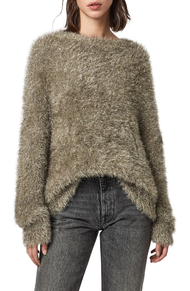ALLSAINTS Tinsel Sweater, Main, color, GOLD