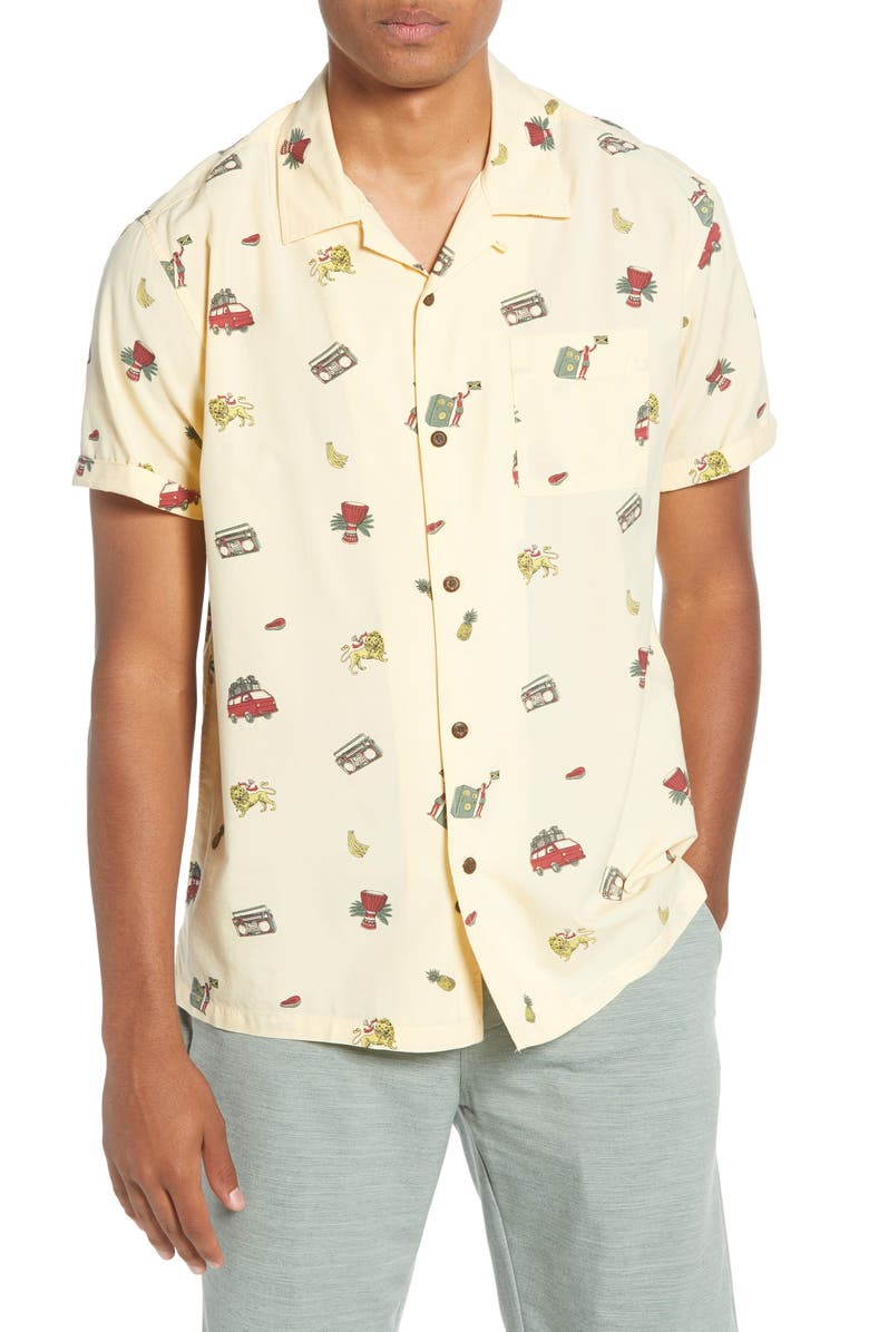 HURLEY Kingston Short Sleeve Button-Up Camp Shirt, Main, color, MUSLIN