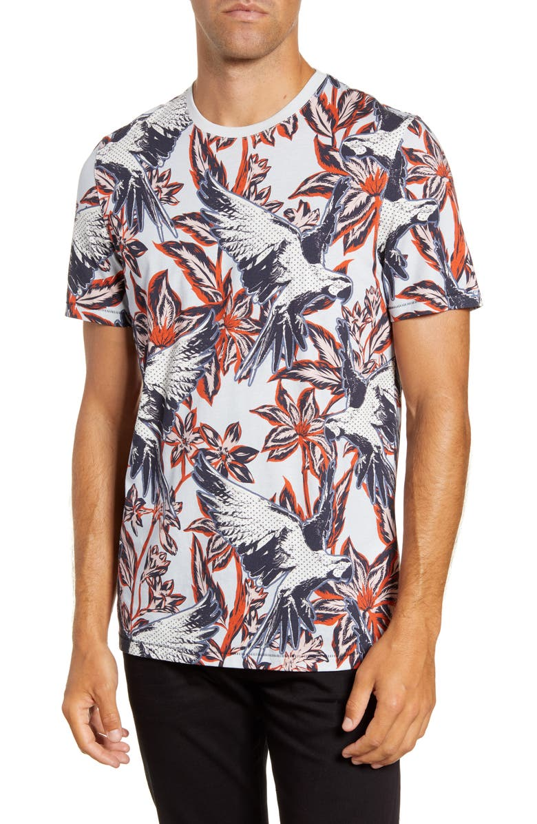 TED BAKER LONDON Slim Fit Parrot Print T-Shirt, Main, color, LIGHT BLUE