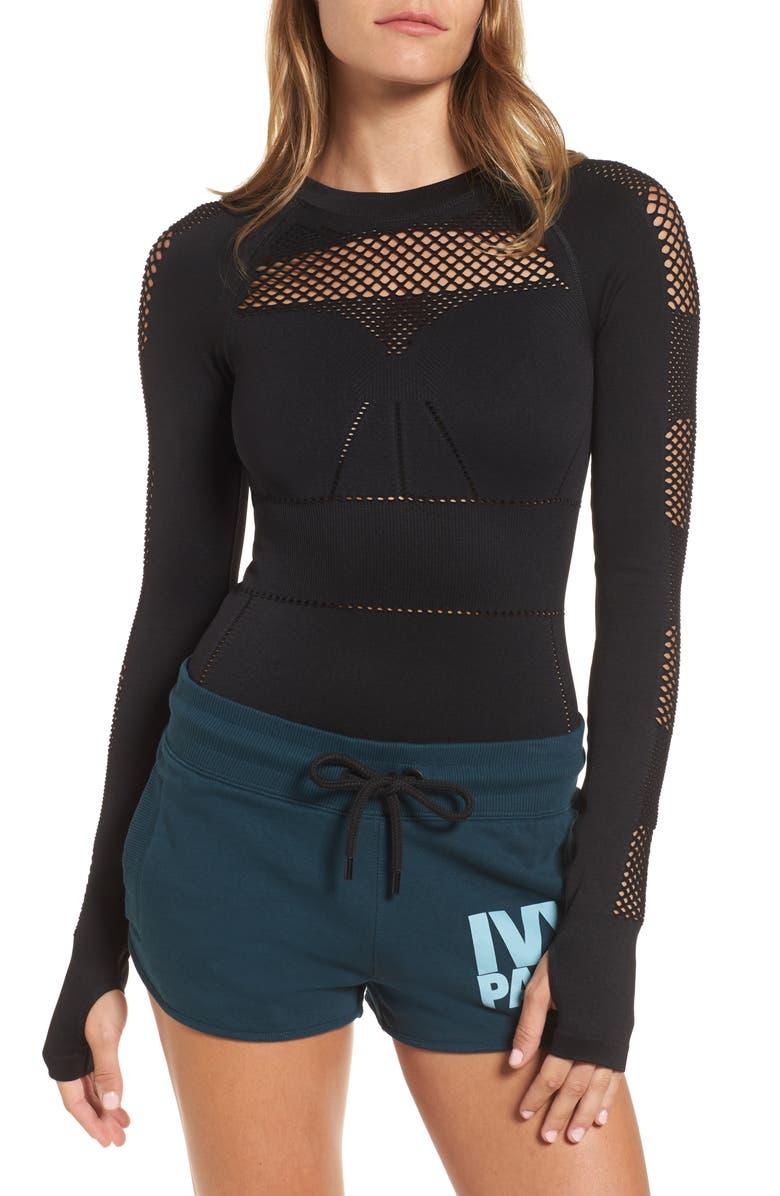 IVY PARK<SUP>®</SUP> Net Bodysuit, Main, color, Black