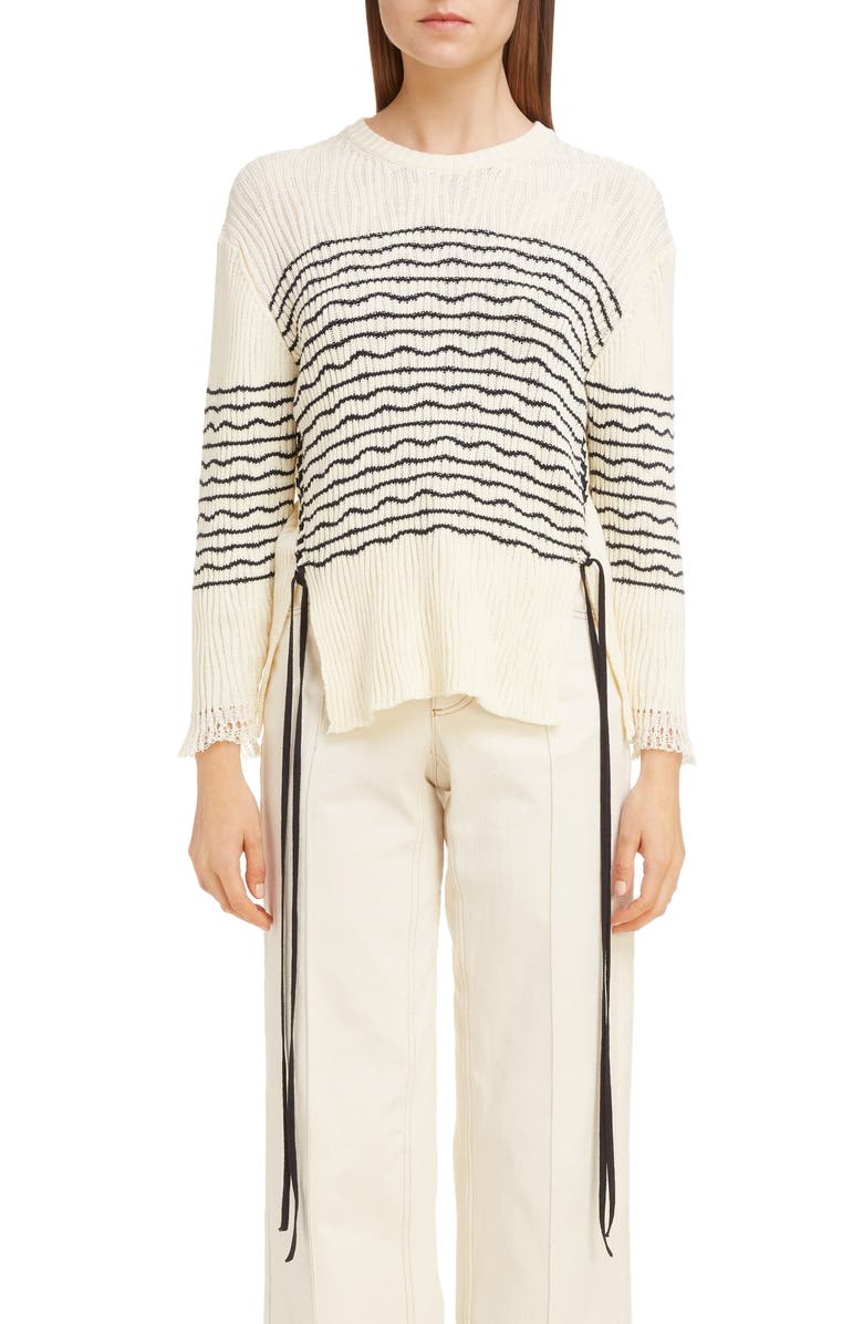 CHLOÉ Side Tie Stripe Ribbed Sweater, Main, color, SEEDPEARL BEIGE