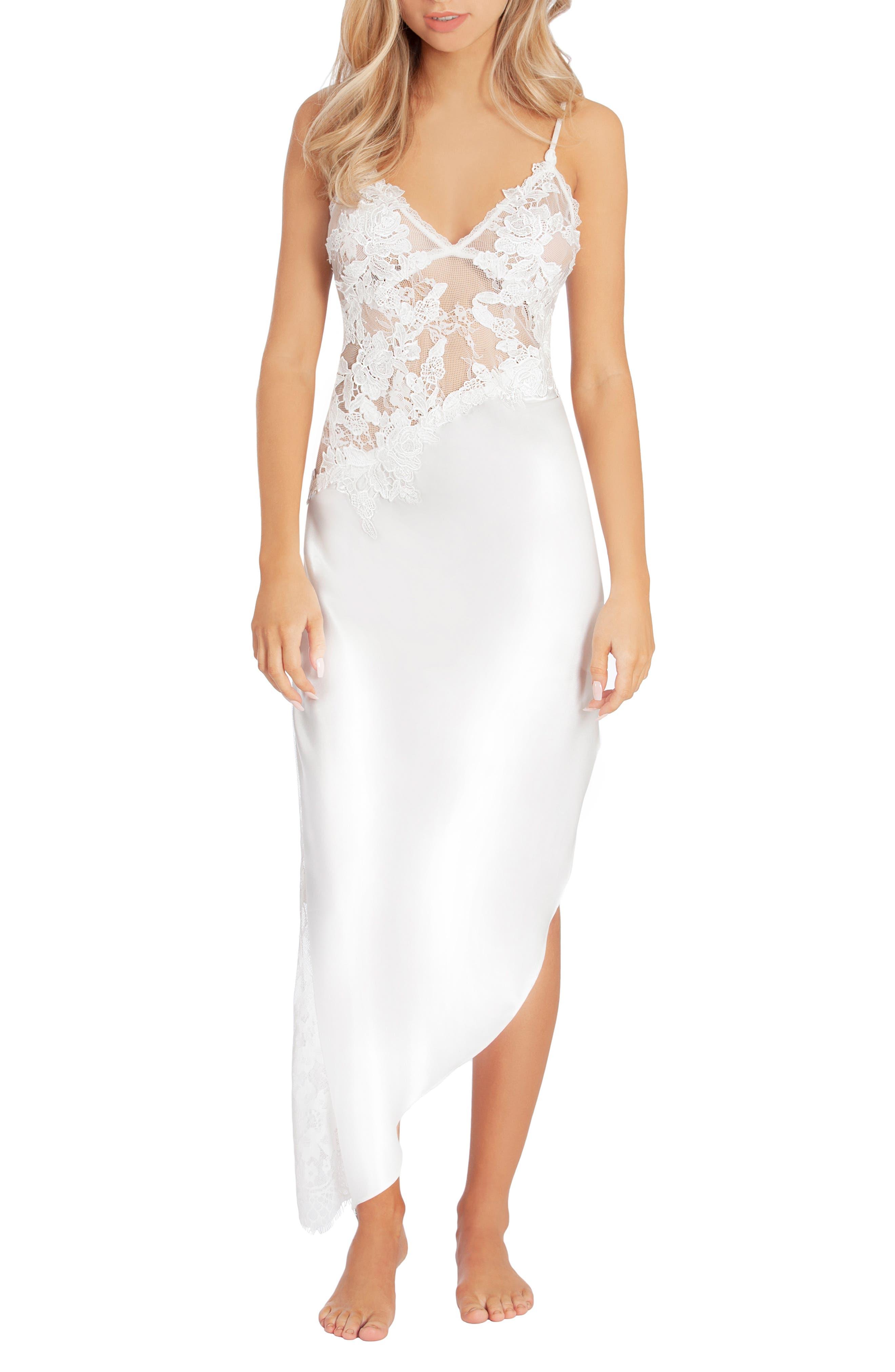 Jonquil Dalia Satin & Lace Nightgown, Ivory