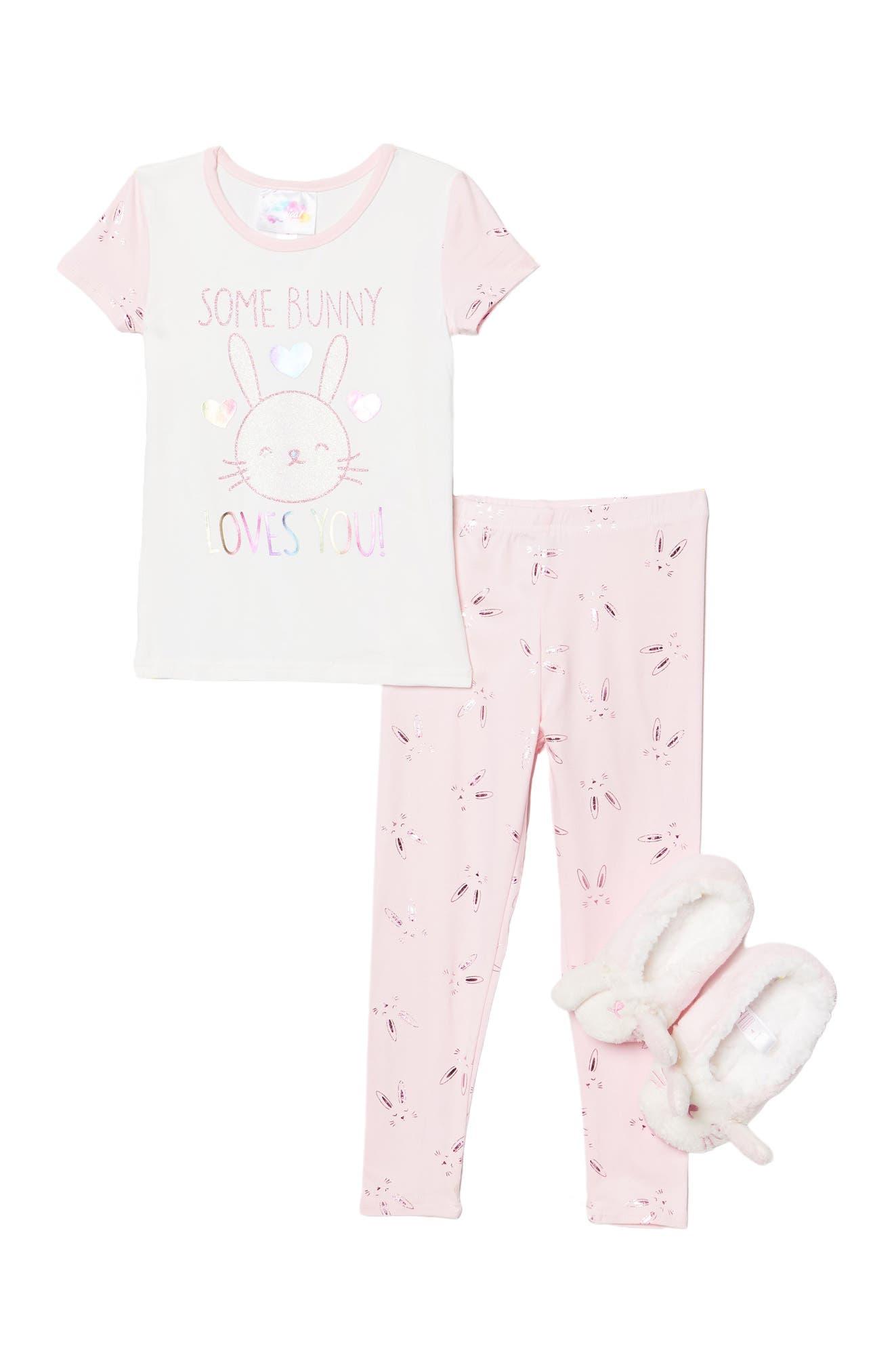 Image of Btween Somebunny Loves You Somebunny Loves You T-Shirt, Pants, & Faux Fur Slipper Set