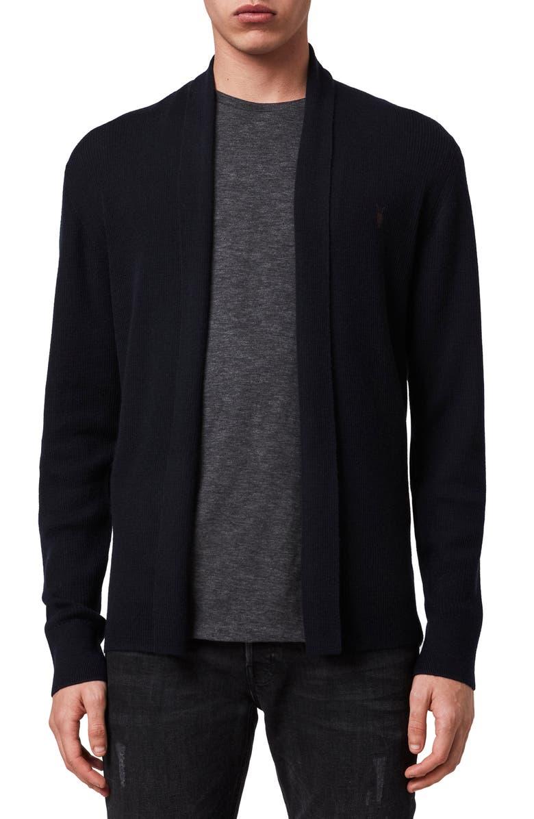 ALLSAINTS Mode Slim Fit Wool Cardigan, Main, color, INK NAVY