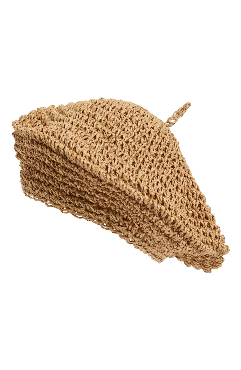 NYC UNDERGROUND Straw Beret, Main, color, TAN
