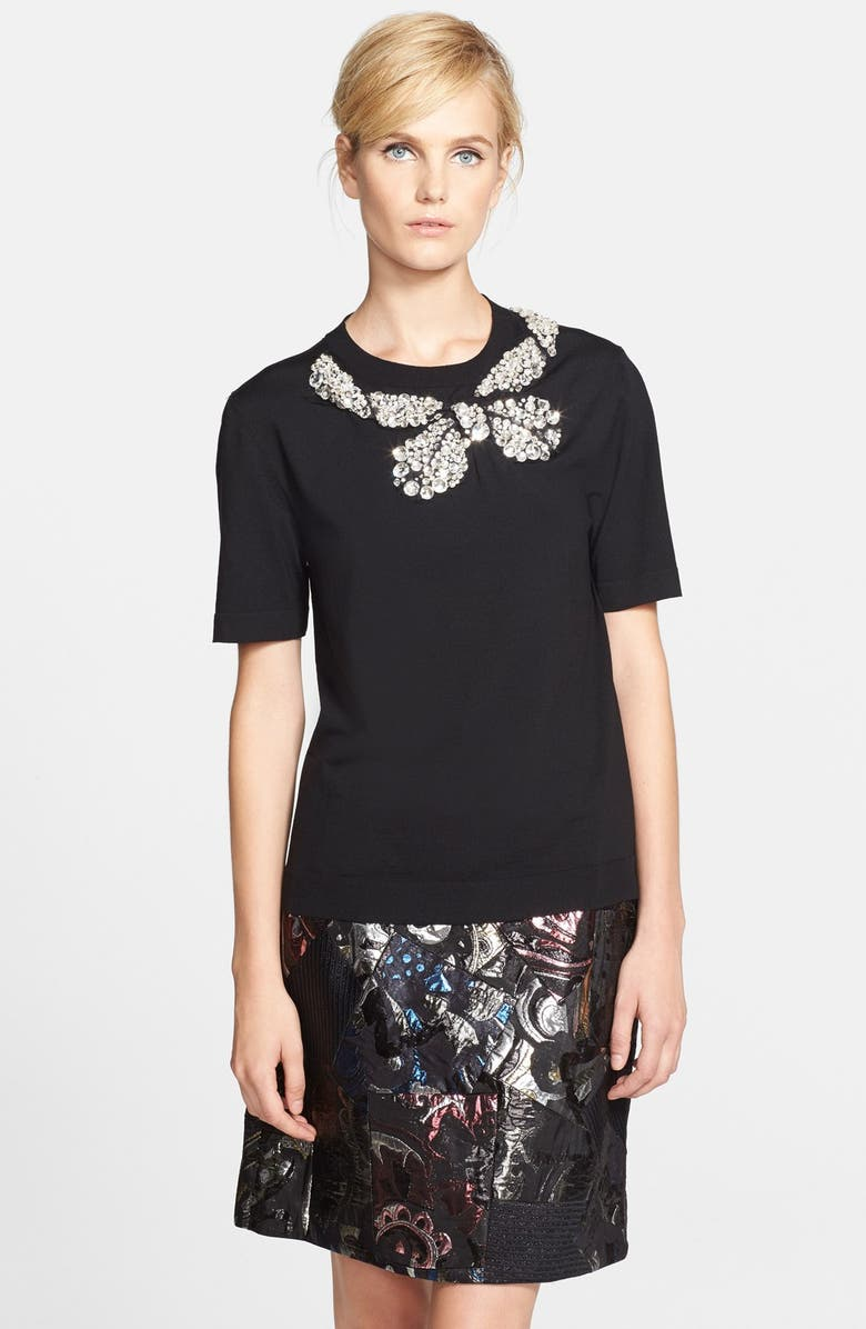 MARC JACOBS Back Tie Embellished Wool Sweater, Main, color, 001
