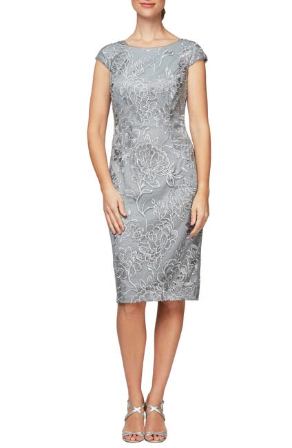 Image of Alex Evenings Floral Embroidered Cap Sleeve Sheath Dress