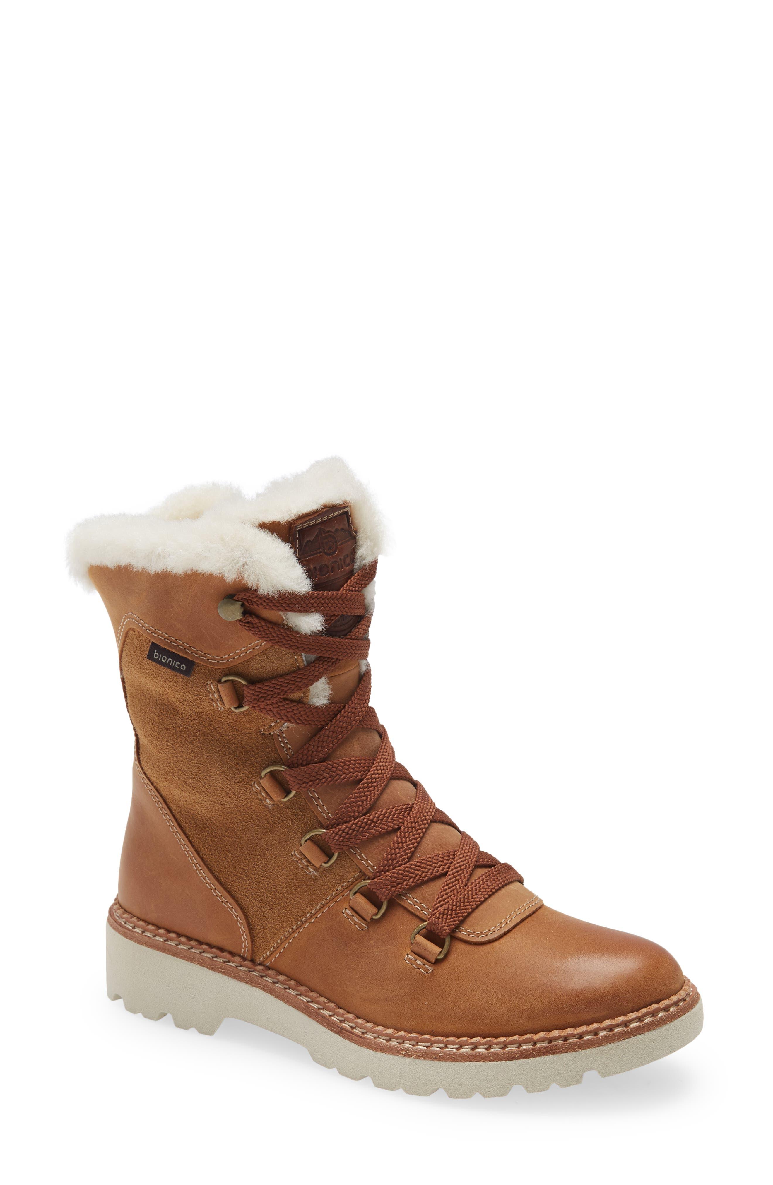 Demee Waterproof Winter Boot With Genuine Shearling Trim