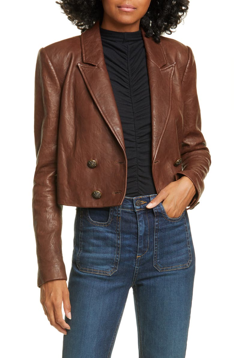 VERONICA BEARD Theo Double Breasted Crop Leather Jacket, Main, color, BROWN