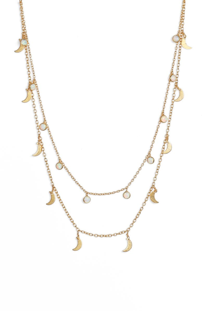 MAD JEWELS Stellar Double Strand Necklace, Main, color, GOLD/ OPAL