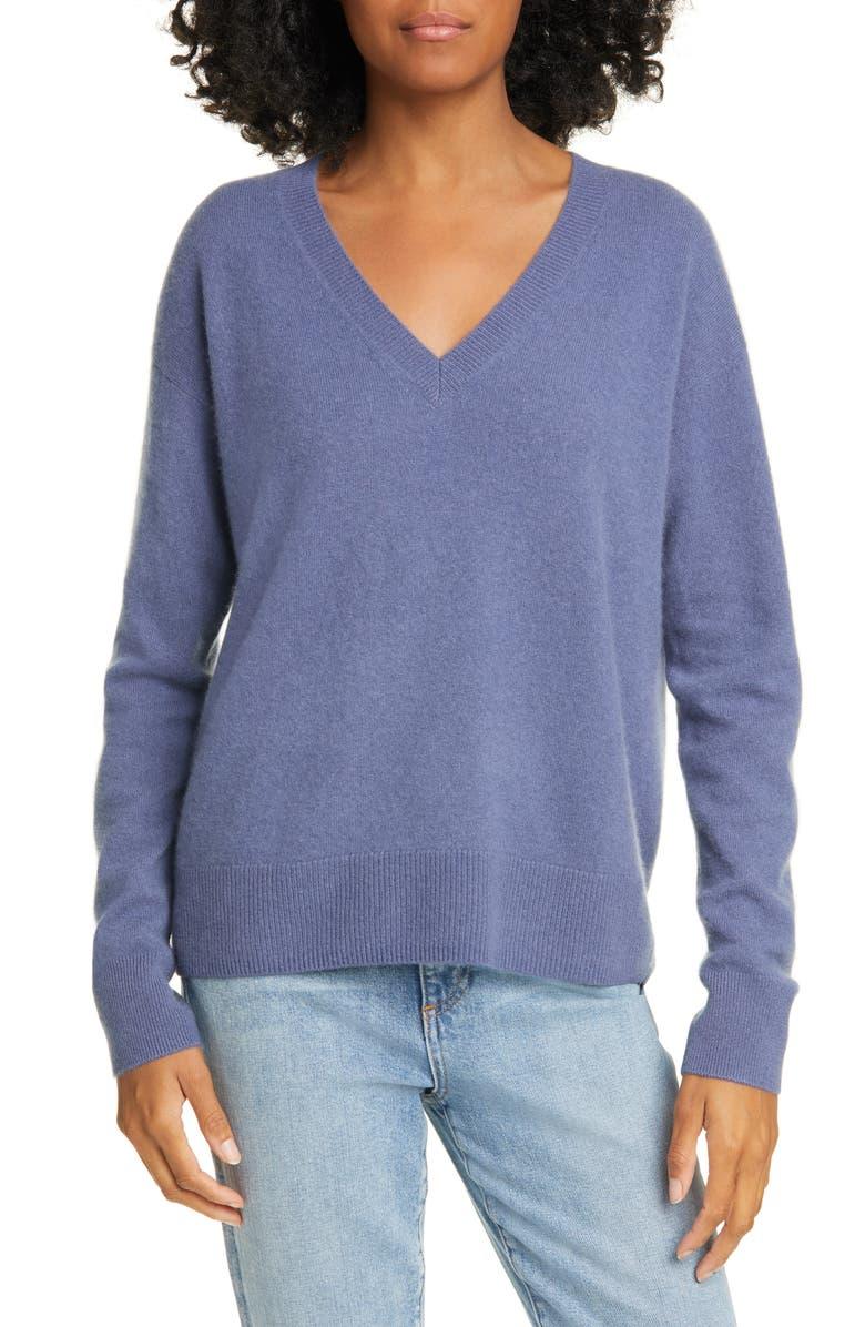 NORDSTROM SIGNATURE V-Neck Cashmere Pullover, Main, color, BLUE INDIGO