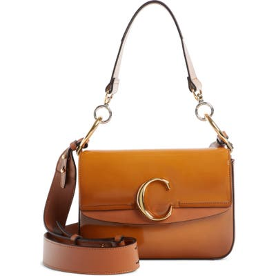 Chloe Patent Leather Shoulder Bag - Brown