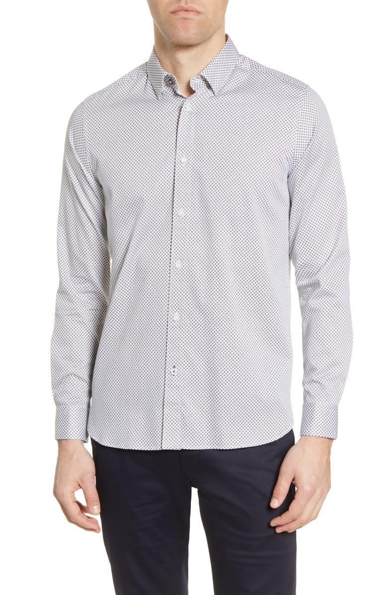 TED BAKER LONDON Hamtie Slim Fit Geo Print Button-Up Shirt, Main, color, WHITE