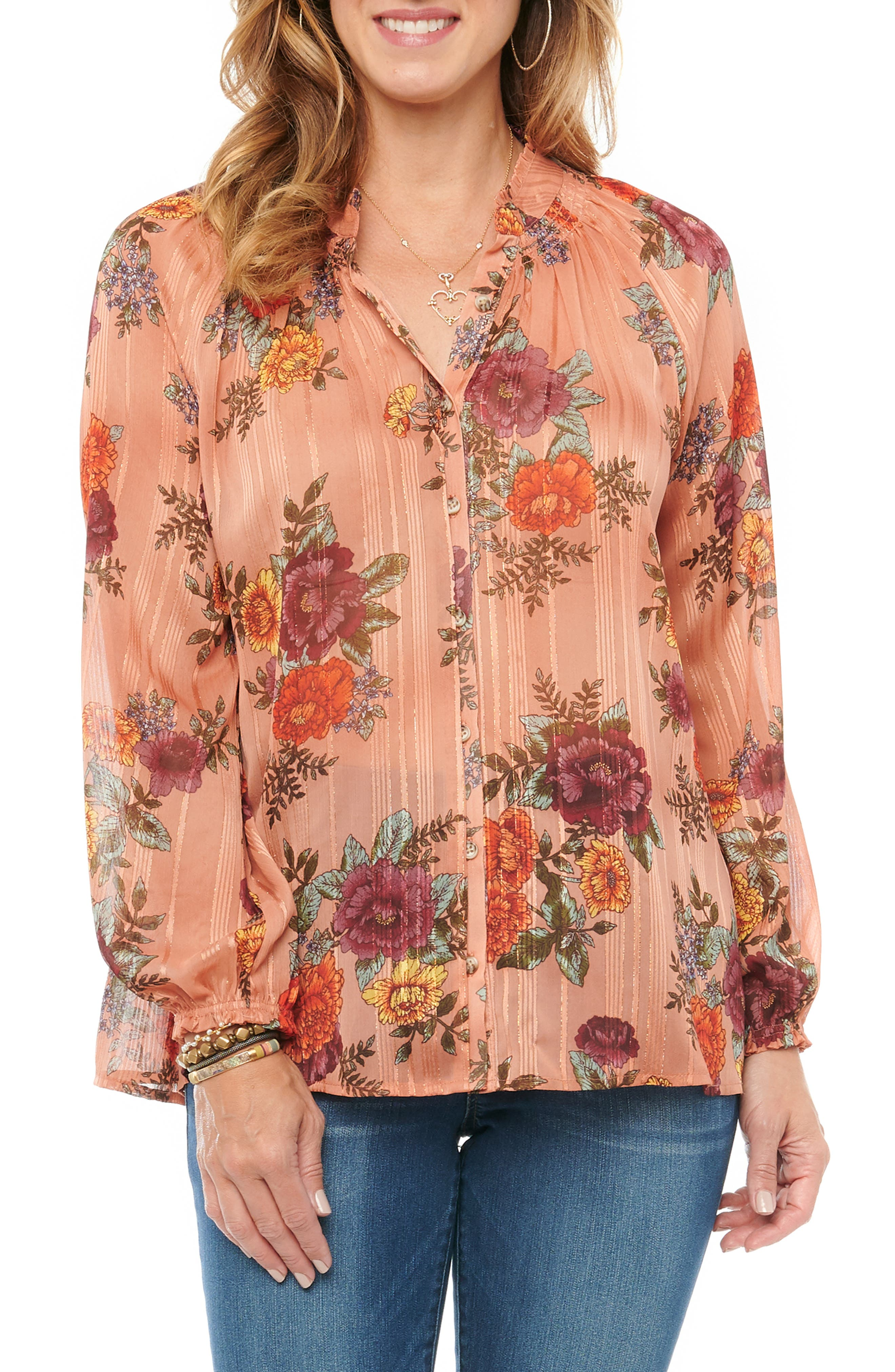 Romance abounds in a smocked and ruffled floral-print blouse with subtle metallic stripes and blouson sleeves. Style Name: Wit & Wisdom Floral Button-Up Chiffon Top (Plus Size). Style Number: 6133438. Available in stores.