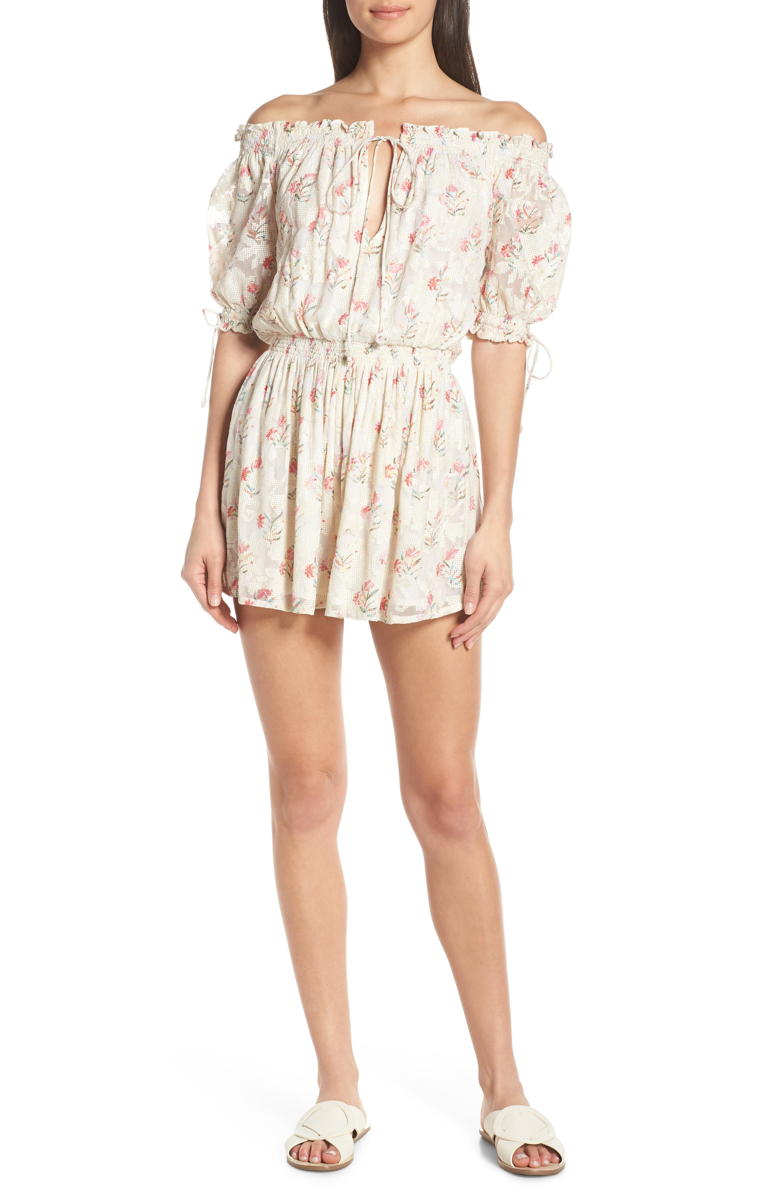 Off the Shoulder Cover-Up Romper, Main, color, BLUSH