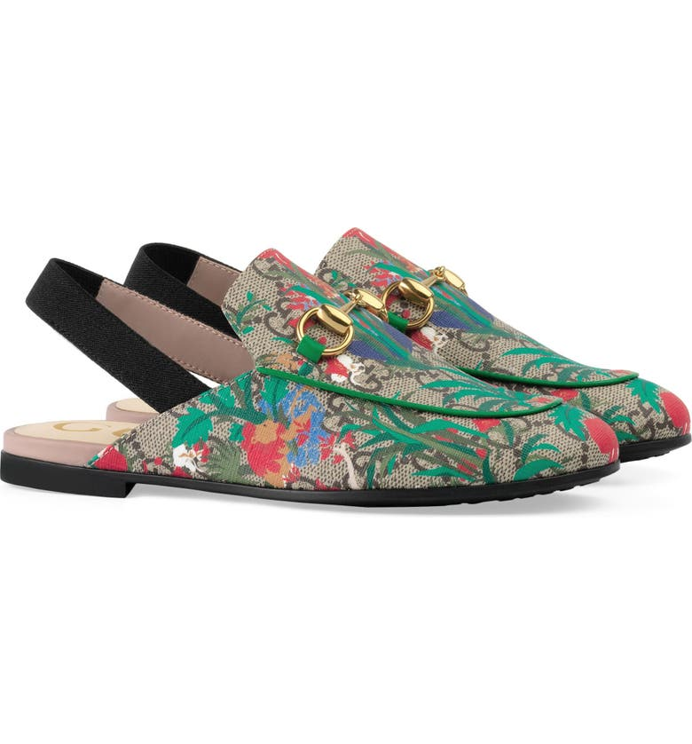 GUCCI Princetown Slingback Loafer Mule, Main, color, BEIGE EBONY MULTI