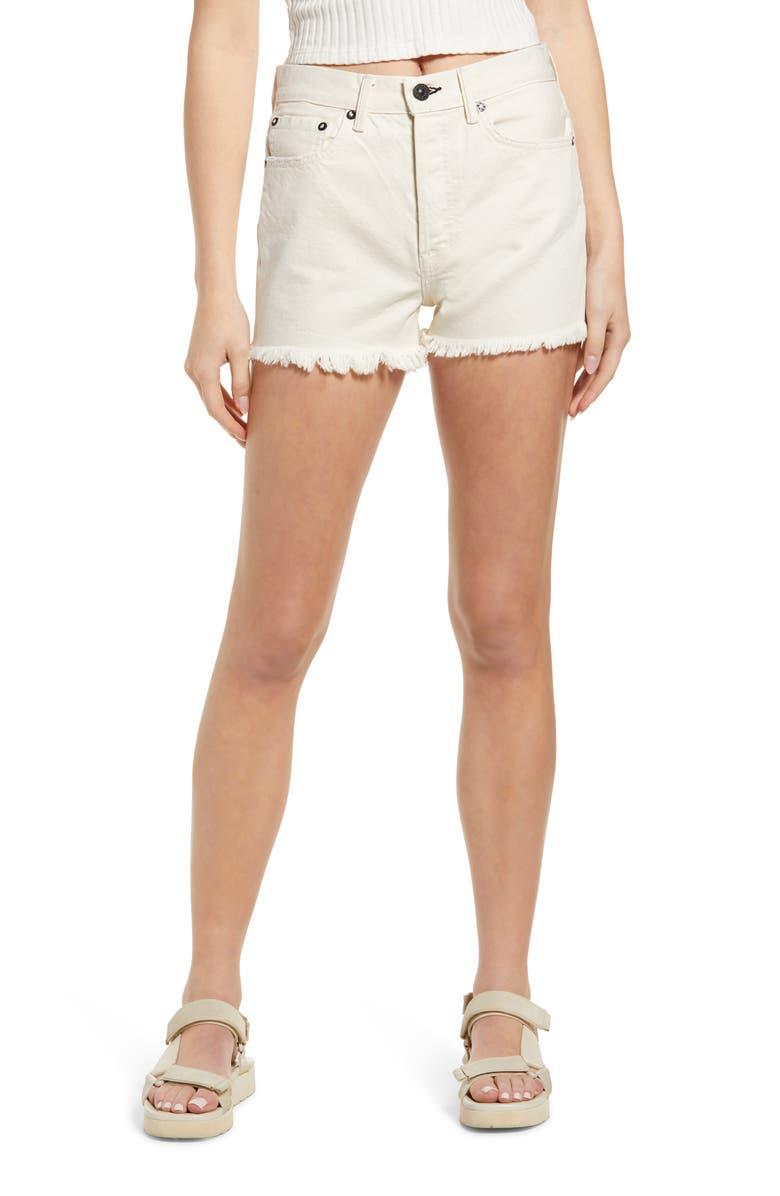 NOEND Muse 3 High Waist Denim Cutoff Shorts, Main, color, BONE
