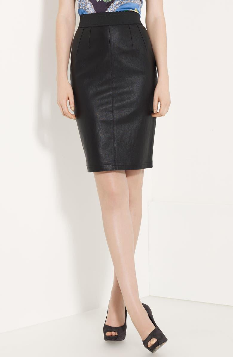 DOLCE&GABBANA Leather Pencil Skirt, Main, color, 001