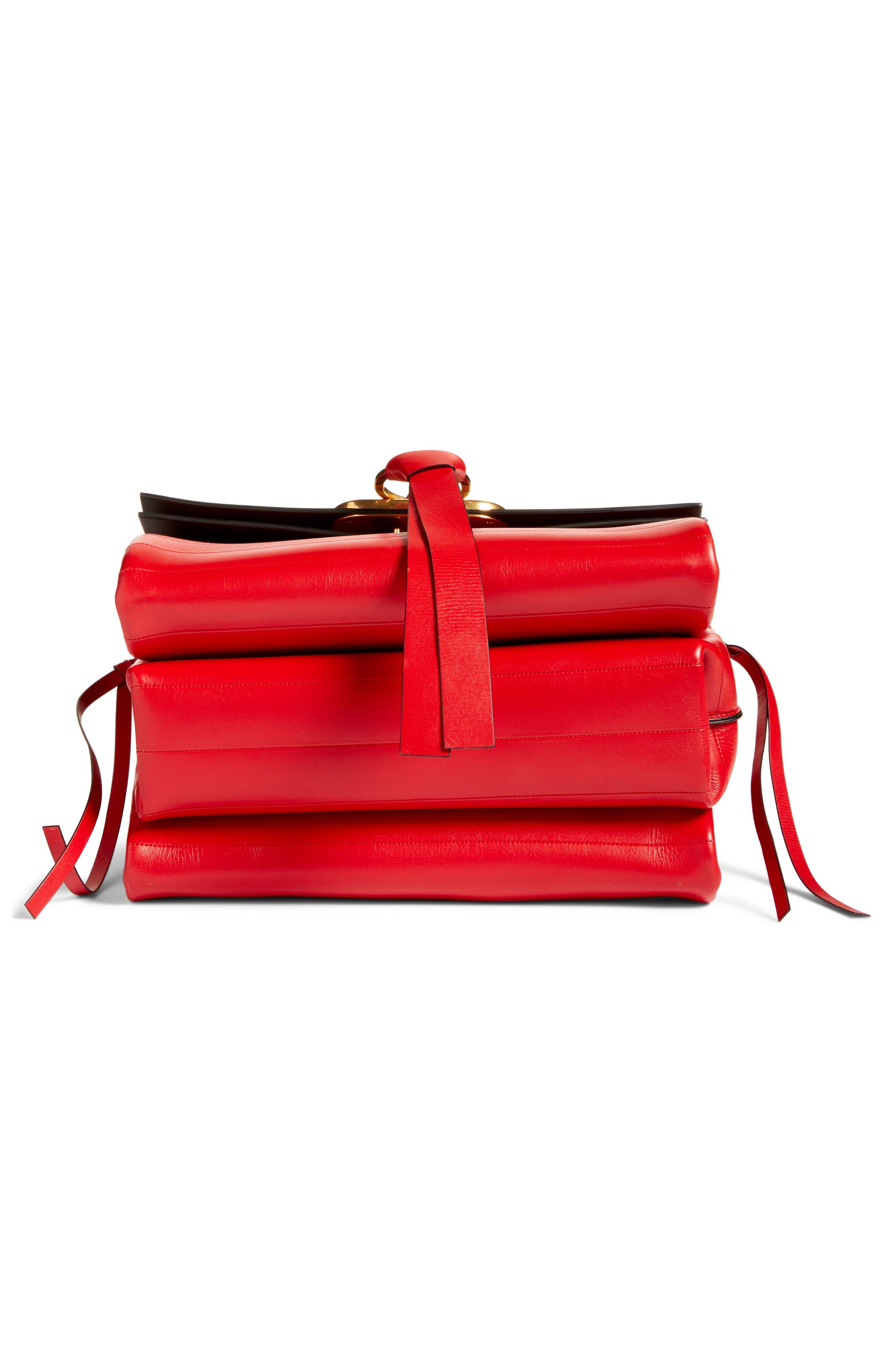 ,                             Medium V-Ring Leather Shoulder Bag,                             Alternate thumbnail 6, color,                             ROUGE PUR