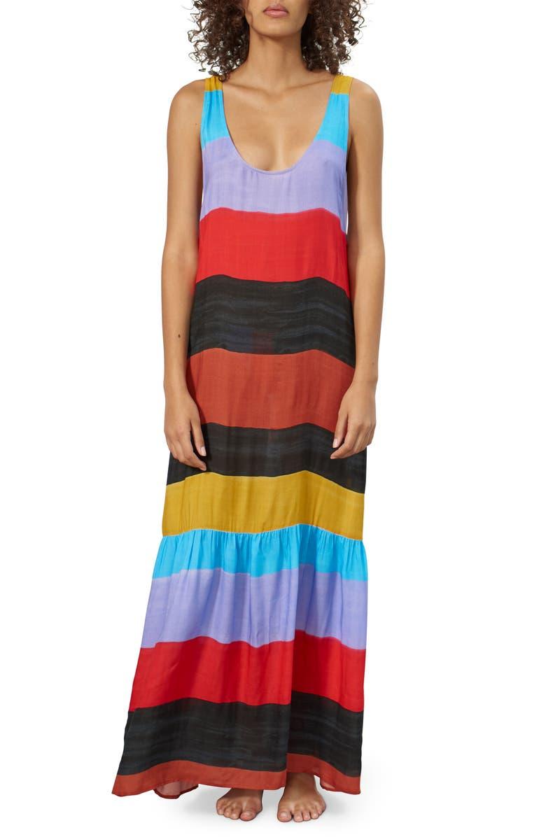 MARA HOFFMAN Valentina Stripe Cover-Up Dress, Main, color, 001
