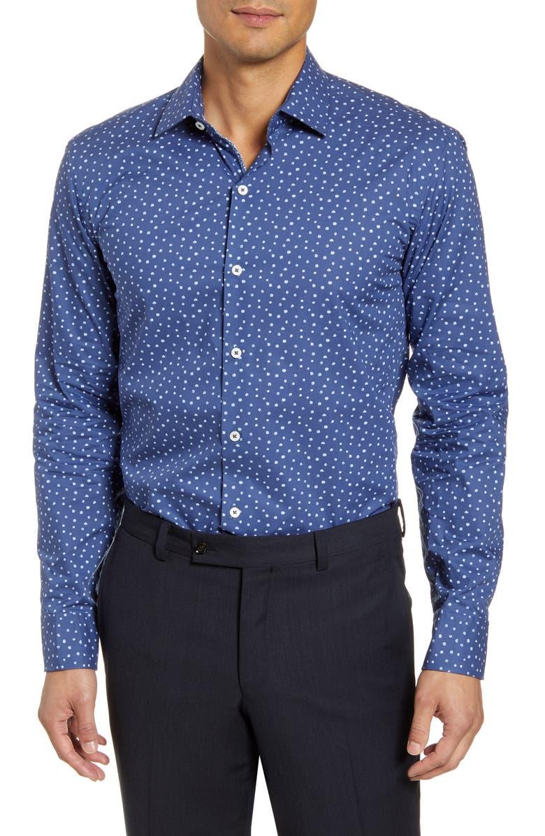 BUGATCHI Trim Fit Dress Shirt, Main, color, MIDNIGHT