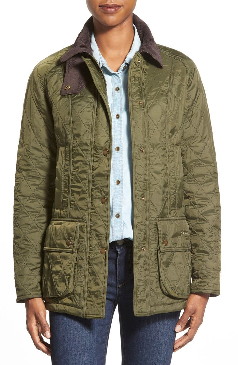 BARBOUR Beadnell Quilted Jacket, Main, color, OLIVE/ OLIVE
