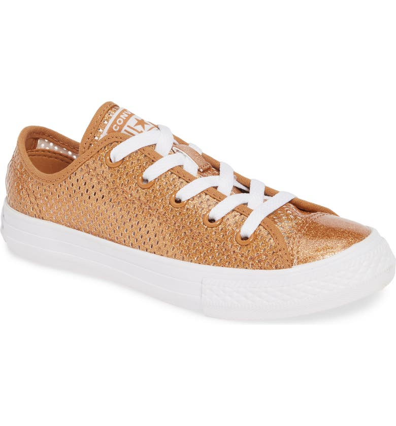 CONVERSE Chuck Taylor<sup>®</sup> All Star<sup>®</sup> Glitter Mesh Low Top Sneaker, Main, color, BRONZE/ RAW SUGAR/ WHITE