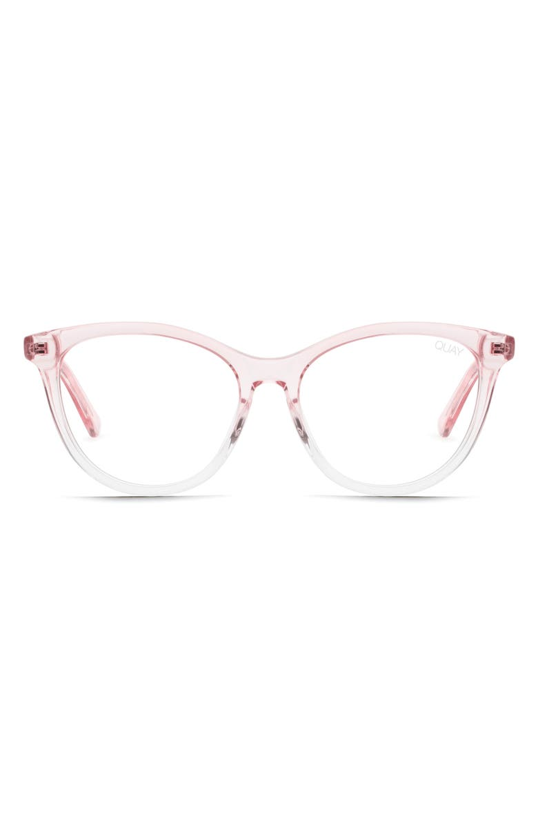 QUAY AUSTRALIA x Chrissy Teigen All Nighter 50mm Blue Light Blocking Optical Glasses, Main, color, PINK/ CLEAR BLUE LIGHT