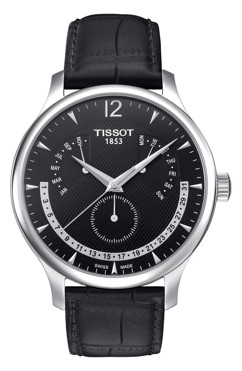 TISSOT Tradition Calendar Leather Strap Watch, 42mm, Main, color, BLACK/ SILVER