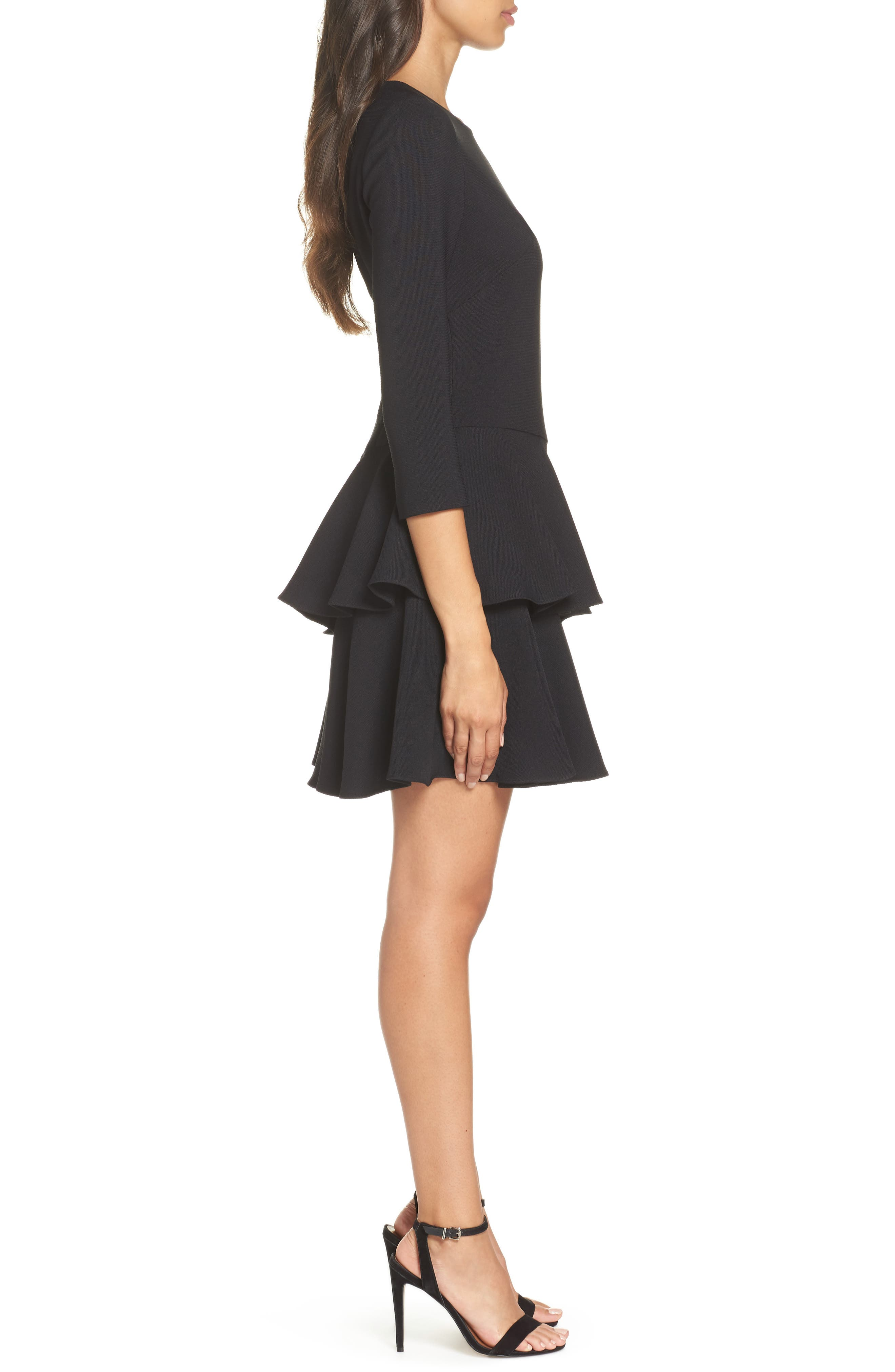 ,                             Tiered Ruffle Knit Dress,                             Alternate thumbnail 4, color,                             001