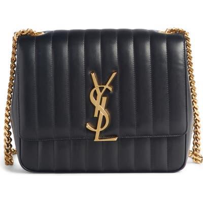 Saint Laurent Large Vicky Leather Crossbody Bag - Black