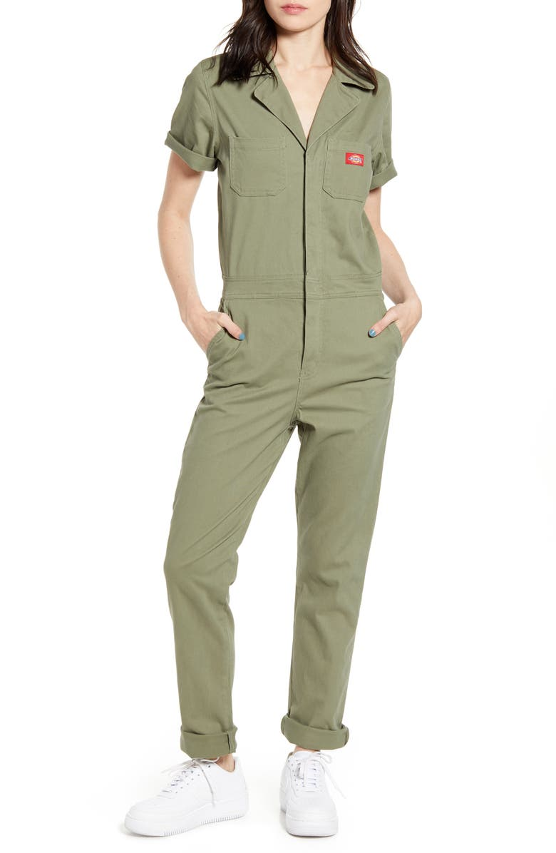 DICKIES Twill Jumpsuit, Main, color, OLIVE