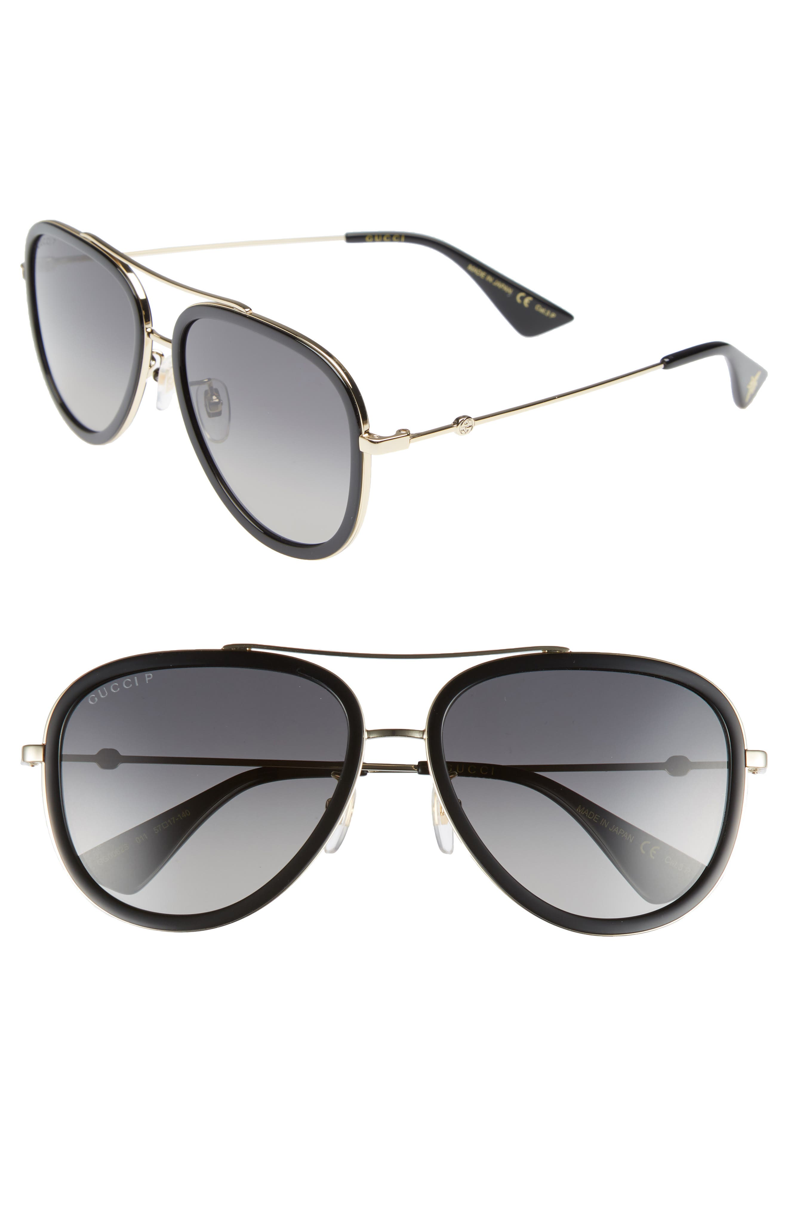 Web Block Pilot 57mm Polarized Aviator Sunglasses, Main, color, GOLD/ BLACK