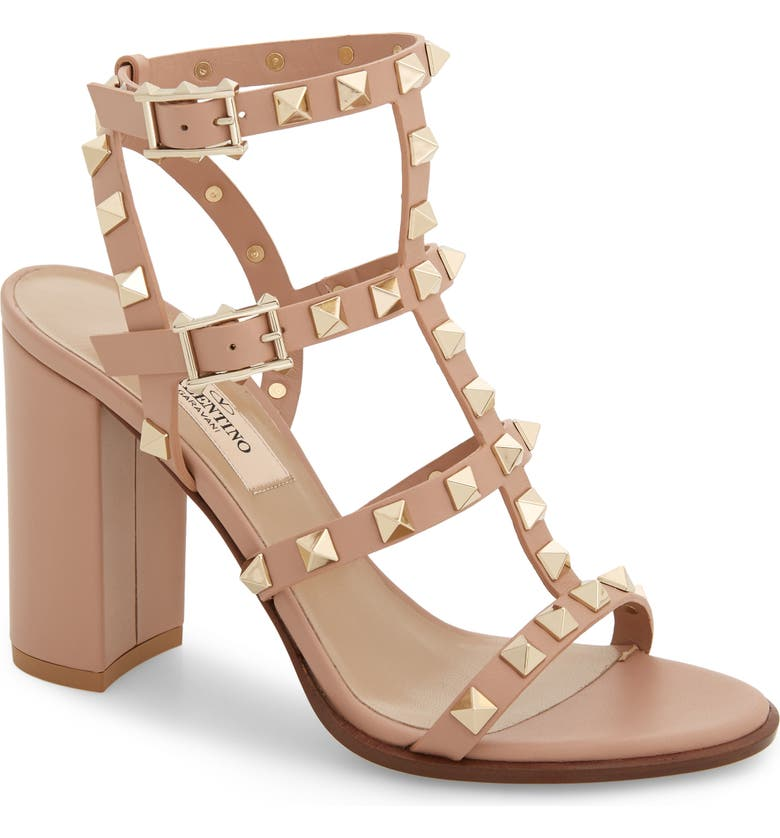 VALENTINO GARAVANI 'Rockstud' T-Strap Sandal, Main, color, ROSE BEIGE