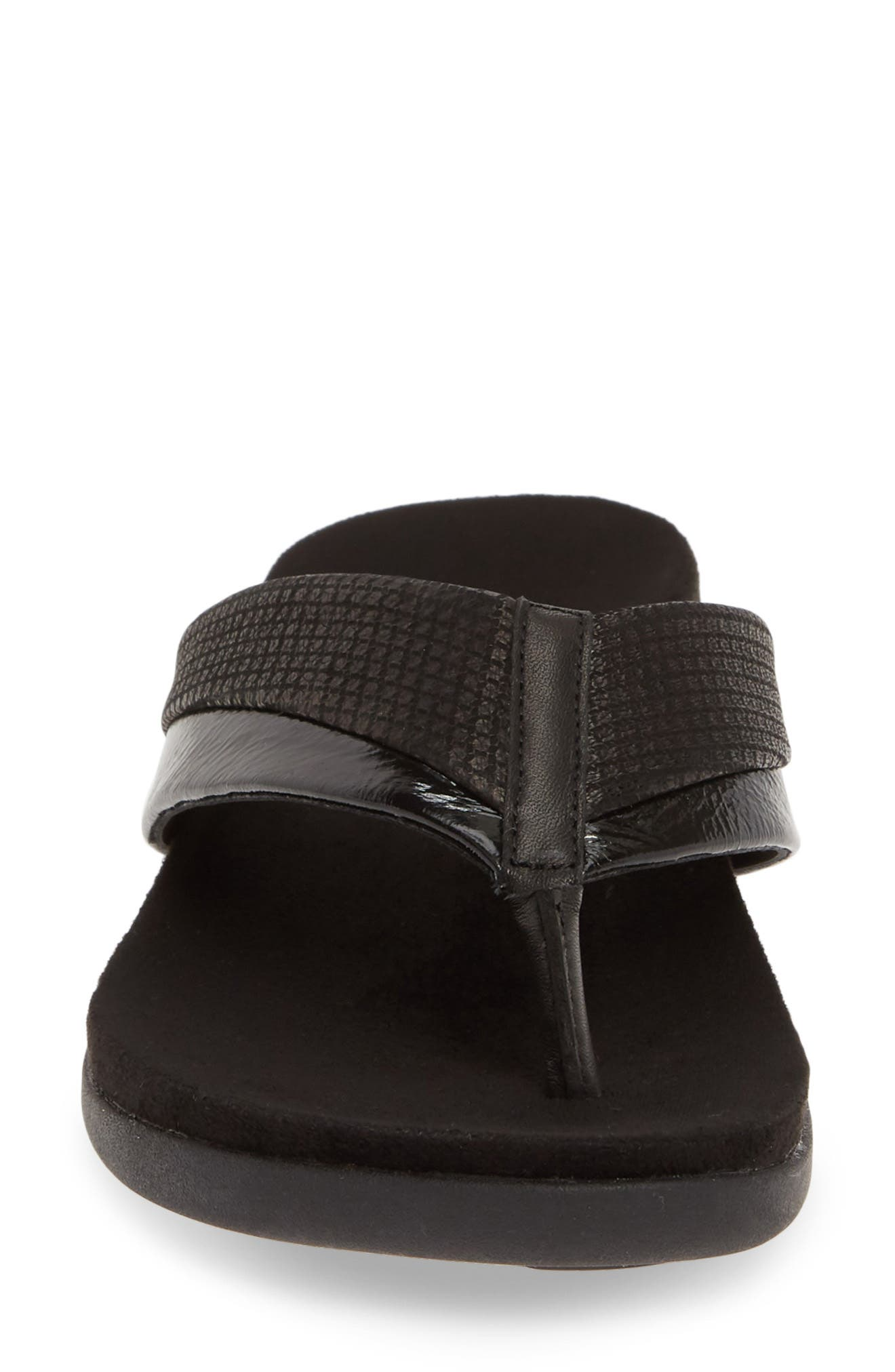 ,                             Emmeth Flip Flop,                             Alternate thumbnail 4, color,                             BLACK LEATHER