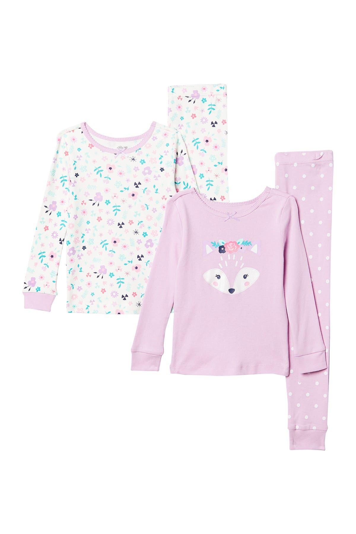 Image of Little Me Fox Print 4-Piece Pajama Set