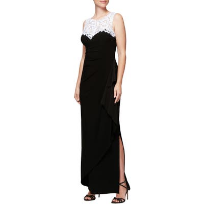 Petite Alex Evenings Embroidered Side Ruched Gown, Black