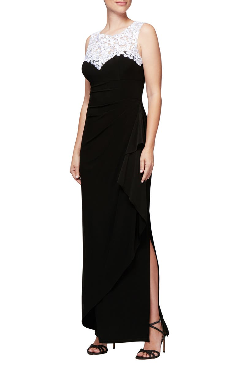 ALEX EVENINGS Embroidered Side Ruched Gown, Main, color, BLACK WHITE