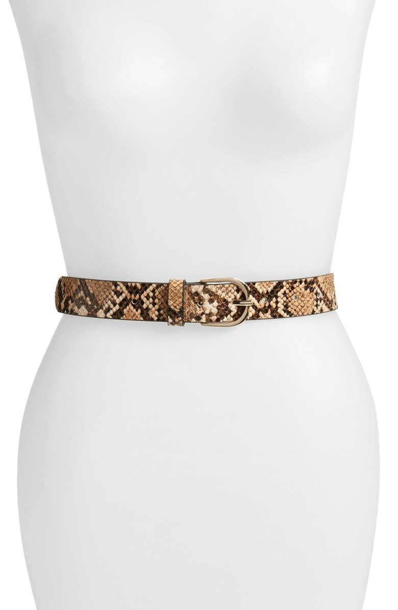 HALOGEN<SUP>®</SUP> Reptile Embossed Faux Leather Belt, Main, color, 235