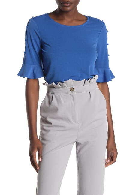 Image of Adrianna Papell Button Sleeve Bell Cuff Top