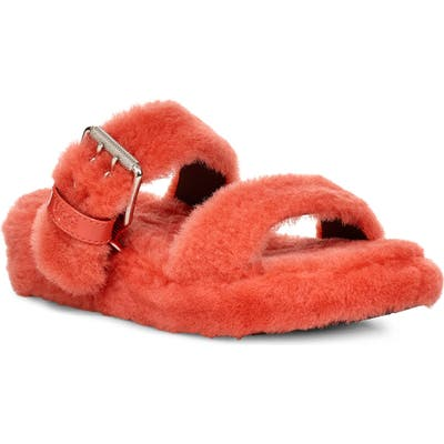 Ugg Fuzz Yeah Genuine Shearling Slide, Orange