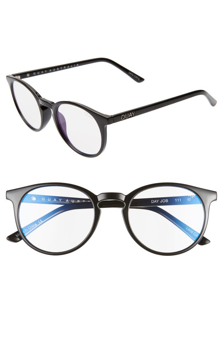 QUAY AUSTRALIA Day Job 49mm Blue Light Blocking Glasses, Main, color, BLACK/ CLEAR BLUE LIGHT