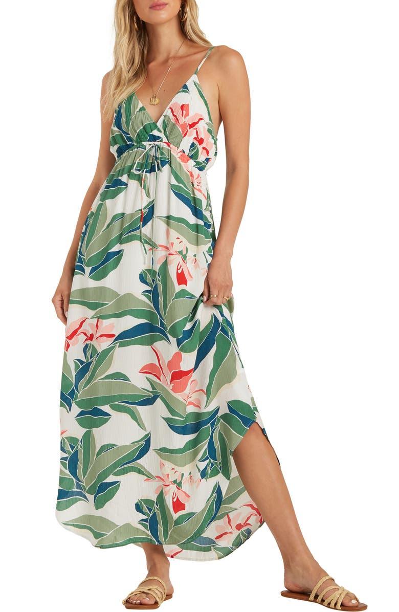 BILLABONG Like Minded Curve Hem Maxi Dress, Main, color, MULTI