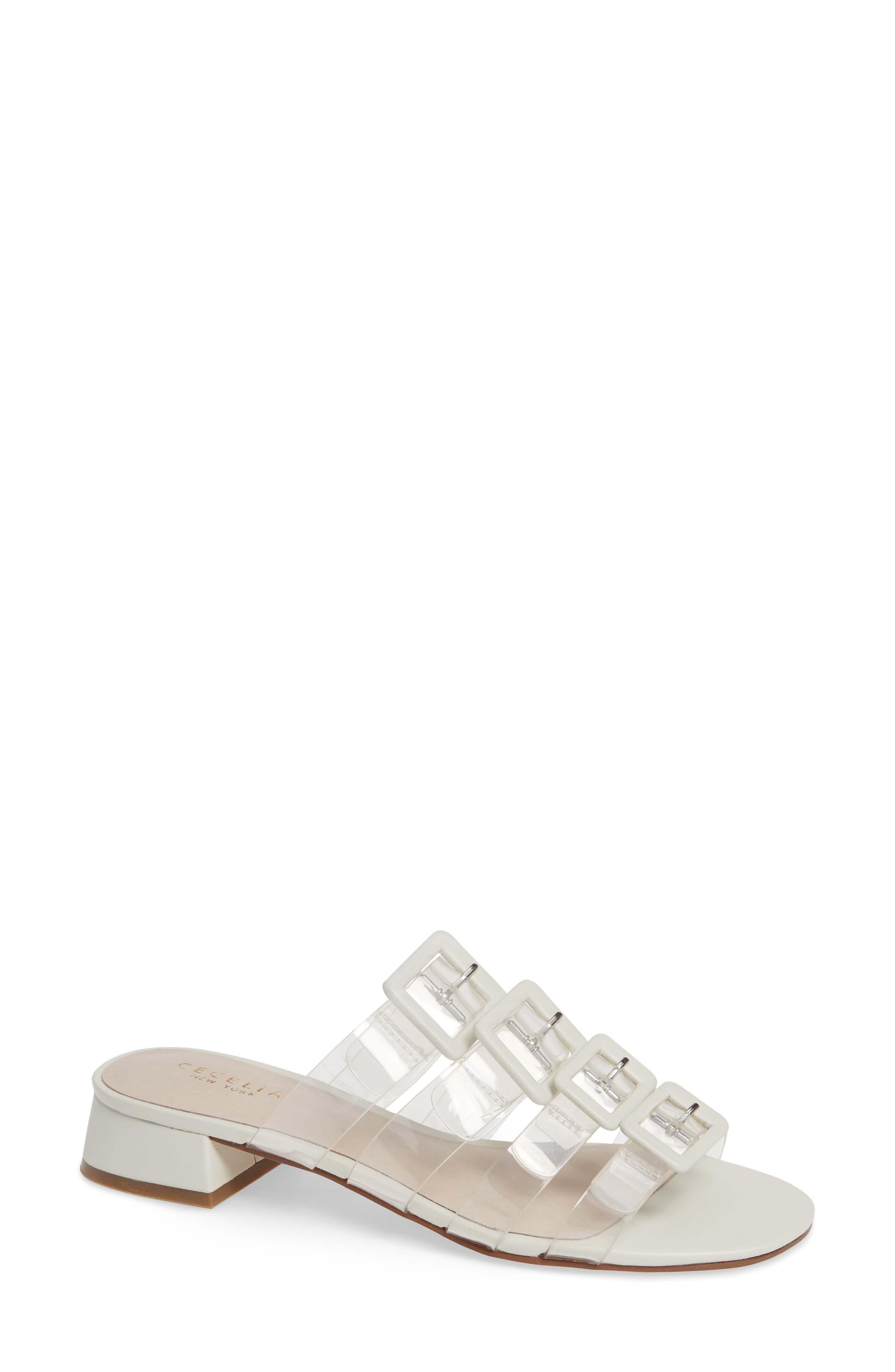 Cecelia New York Lincoln Strappy Clear Slide Sandal, White
