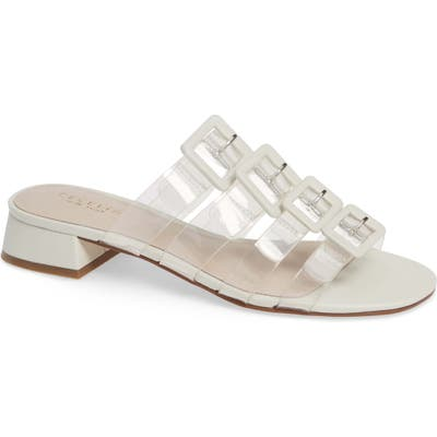 Cecelia New York Lincoln Strappy Clear Slide Sandal- White