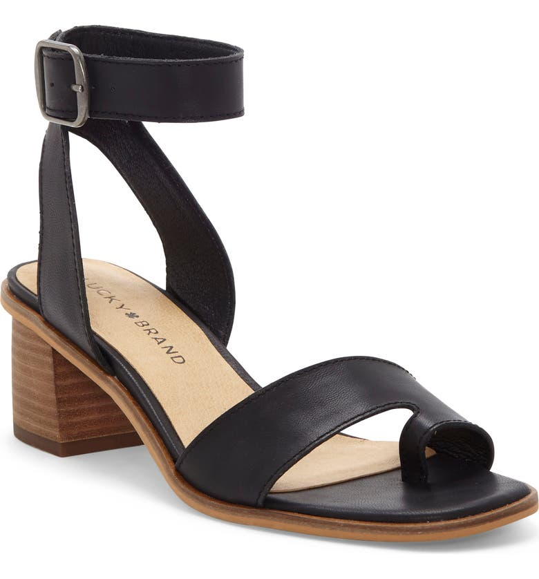 LUCKY BRAND Loklin Ankle Strap Sandal, Main, color, BLACK LEATHER