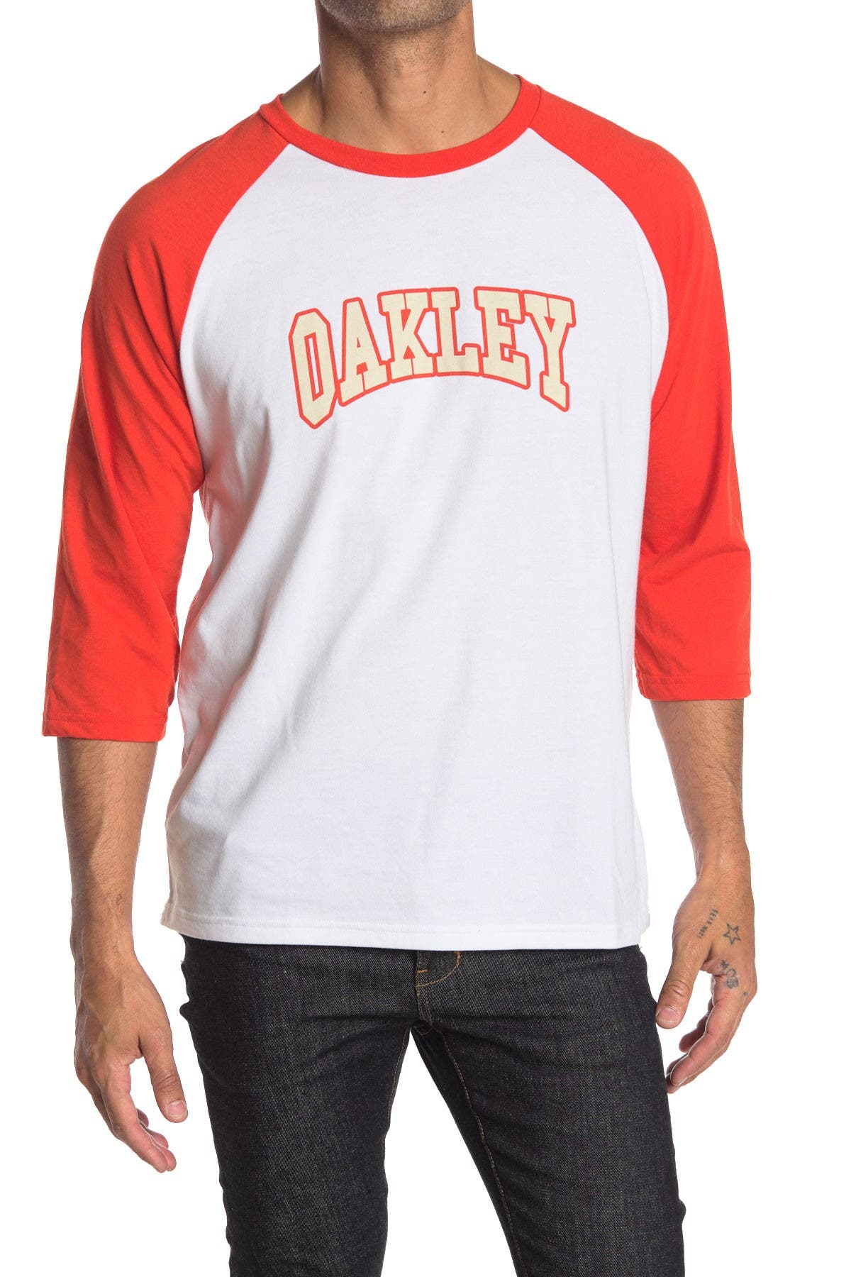 Image of Oakley Sport Logo Print 3/4 Raglan Sleeve T-Shirt