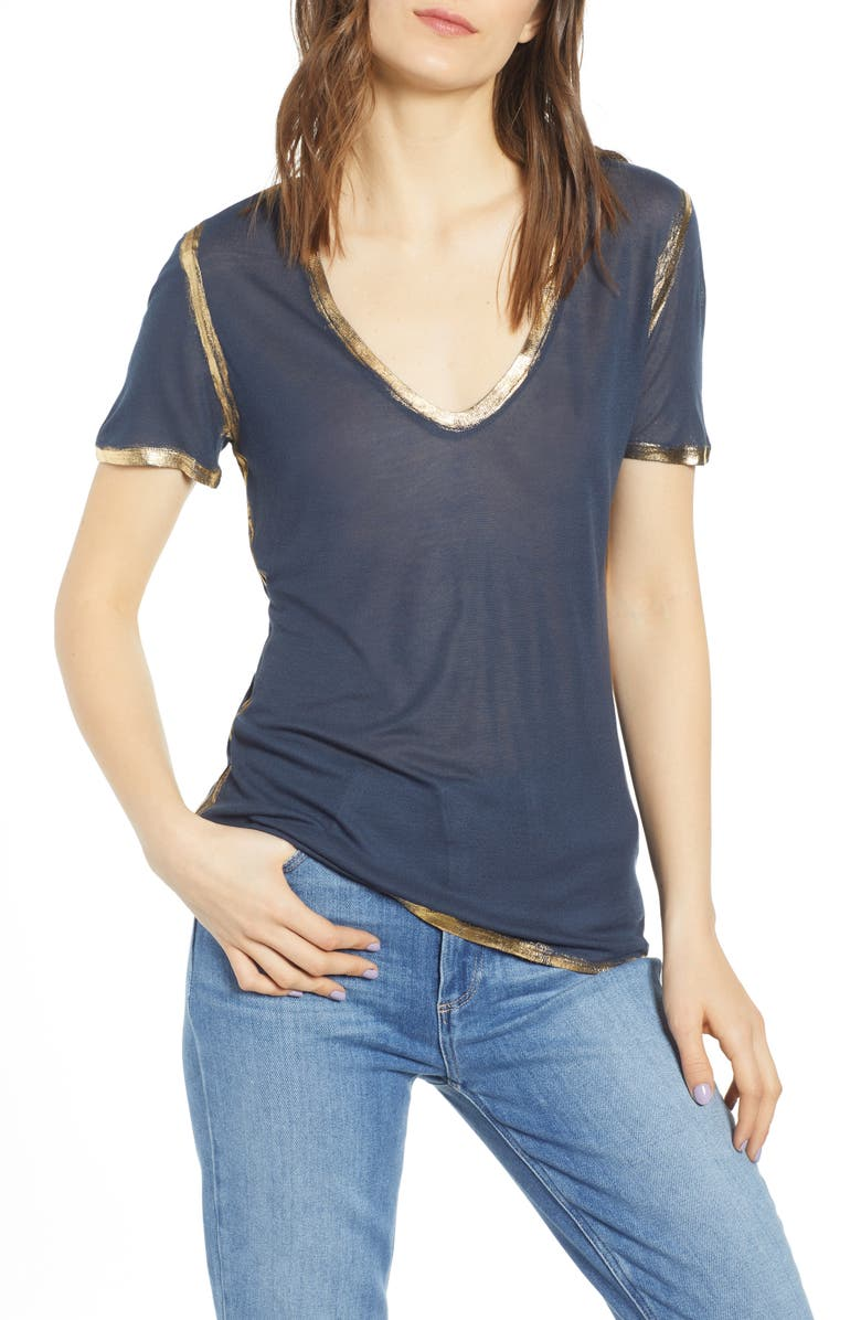 ZADIG & VOLTAIRE Tino Foil Tee, Main, color, MARINE