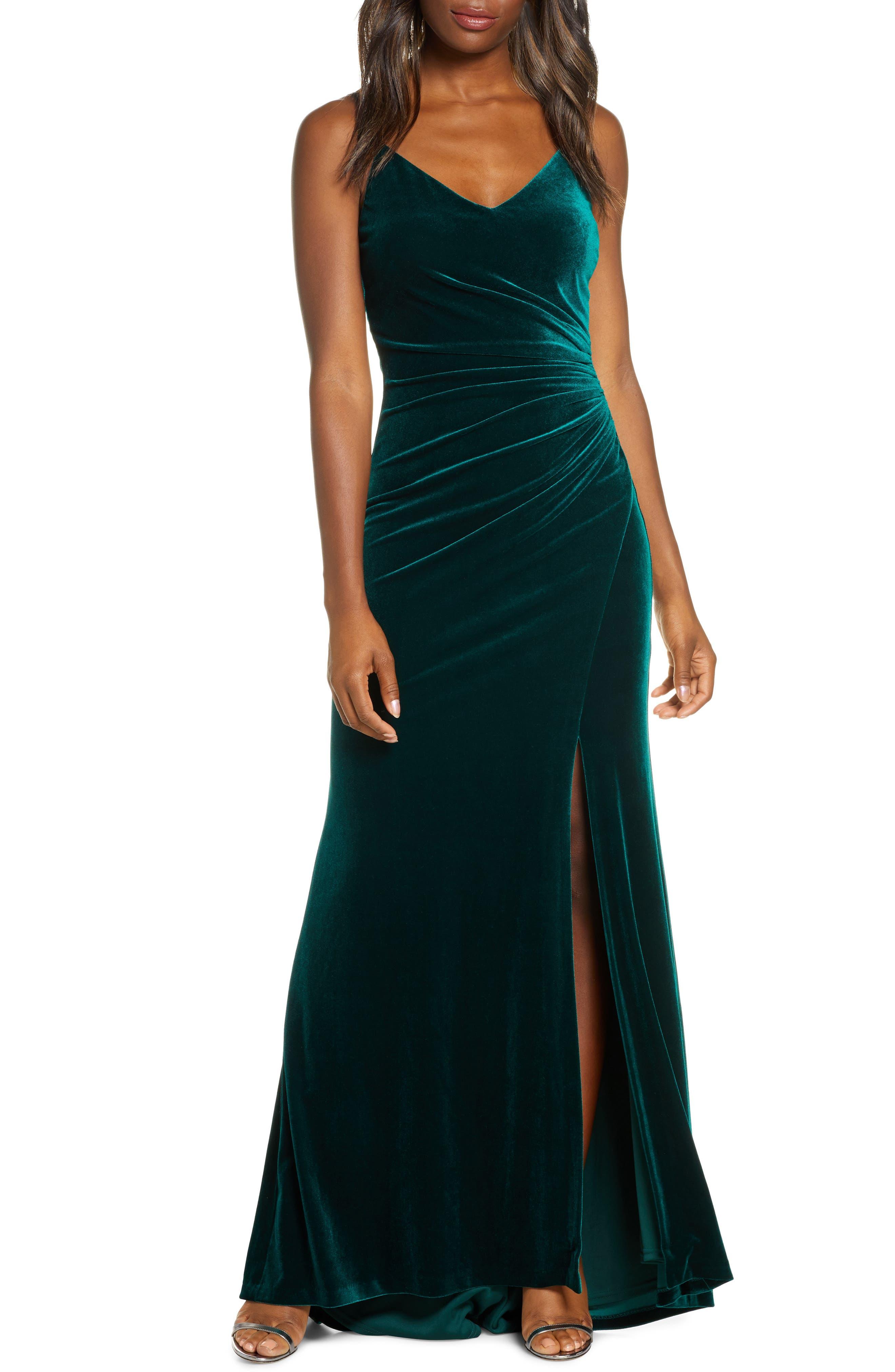 1930s Evening Dresses | Old Hollywood Dress Womens Vince Camuto Ruched Side Slit Velvet Evening Gown Size 8Regular - Green $168.00 AT vintagedancer.com